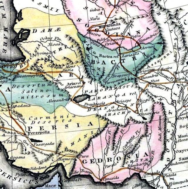 16_Sogdiana_Assaciana_Gedrosia-Map-Route-of-Alexander-1823-Lucas